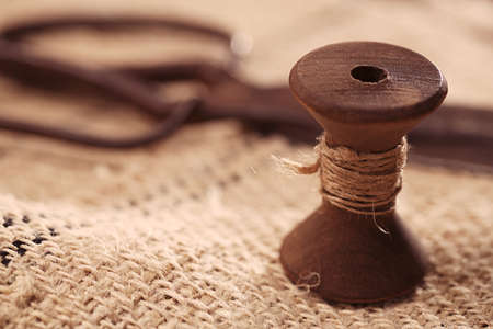 real old reels spools with hemp treads on old grain sacking linen Completely hand made  handwoven and homespun