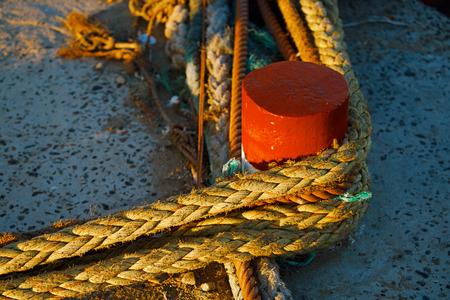 details in the Skala du Port in Essaouira, Morocco. Stock Photo