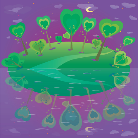 illustration of fantasy landscape  Forest lake  and night sky  Vector