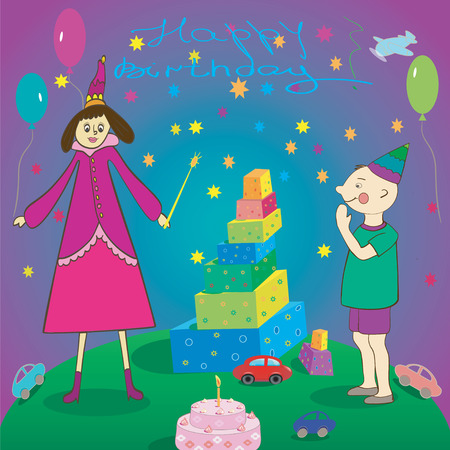 Happy Birthday   Gifts boy cake and fairy  illustration Vector