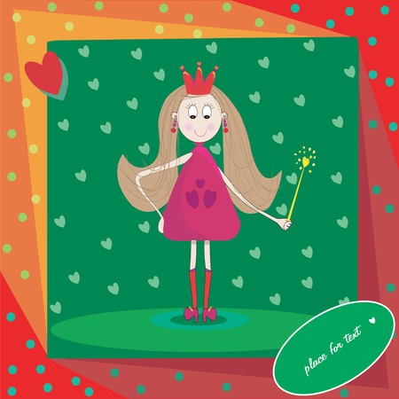 Illustration of little princess-fairy with magic wand and hearts Vector