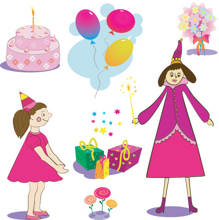 Set of birthday object. Gifts girl cake and fairy illustration Vector