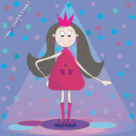 Illustration of little princess on the scene  with blue background  Vector