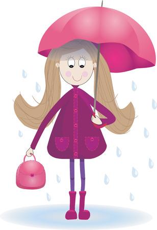 Illustration  of cute girl with umbrella  boots  raincoat and rain Vector