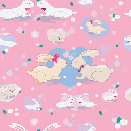 Cute seamless pattern with bunnies and hearts  in pink background Vector