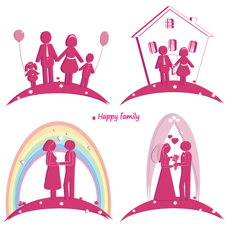 Set of happy family icons. Symbol of wedding. Family house. Pregnancy and parents with son and daughter. Silhouette  Vector
