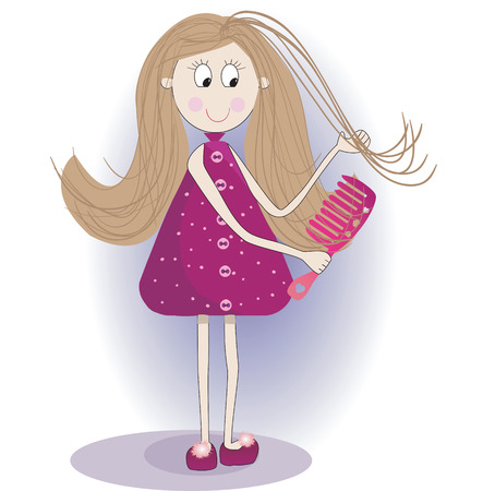 Illustration of cute girl in a bathrobe and slippers. She is combing long  hair