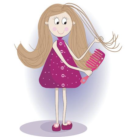 aseo personal: Ilustración de la chica linda en un albornoz y zapatillas. Ella está peinando el pelo largo