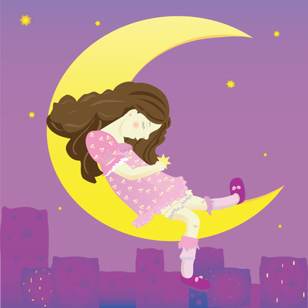 Illustration of girl on the moon. Background with night city and pillows Vector