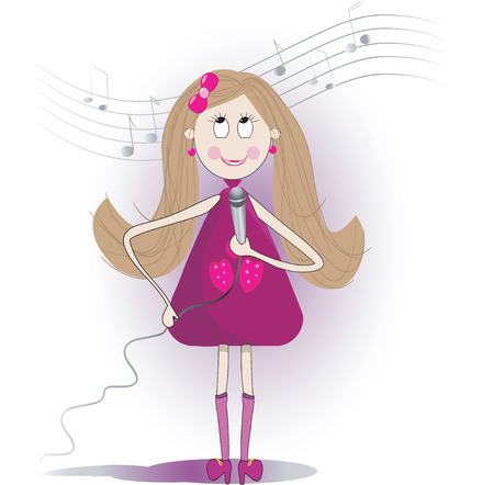 Illustration of cute girl sings a song with microphone. Background with notes Vector