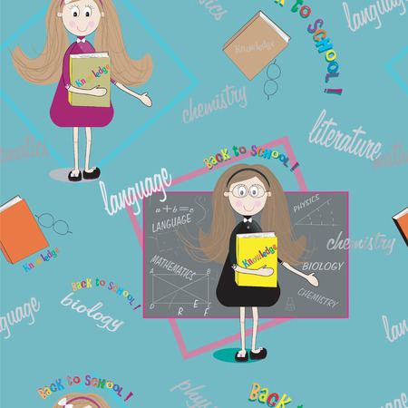 Seamless student texture with teacher and  books.  Back to school. Teacher Day Vector