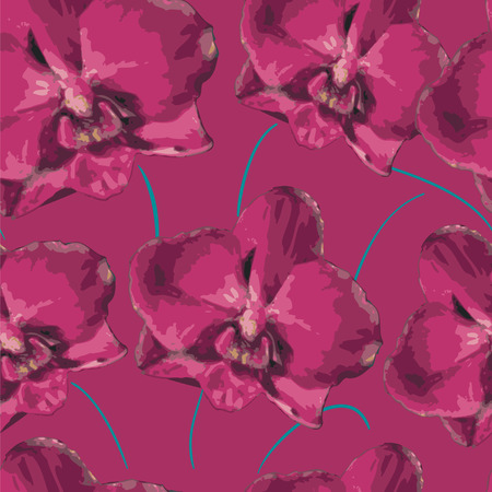 pink orchid: seamless pattern with pink orchid. Texture of flowers. Illustration