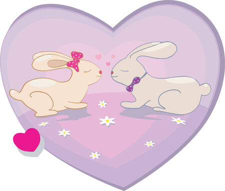 Rabbits love hearts illustration  for card  Valentine day Vector