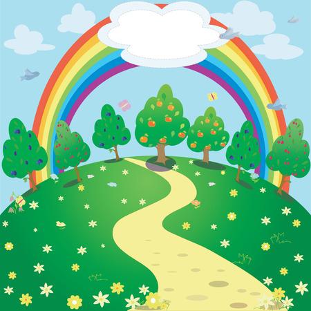 background of rainbow  and garden meadow . Vector