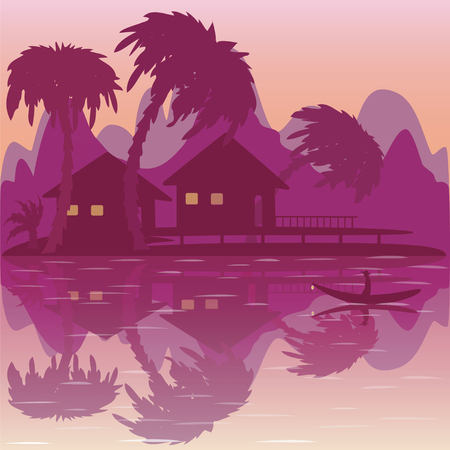 bungalow: Illustration of  sunrise on  tropical beach with bungalow and palms