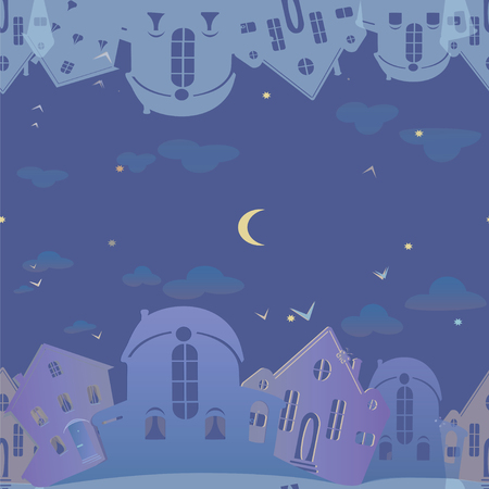 Seamless pattern of real estate. Blue background with houses. Night sky city.  Vector