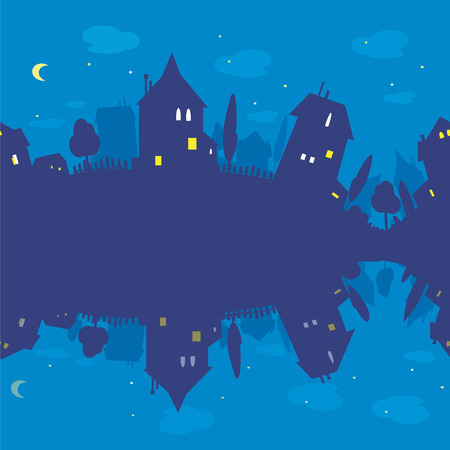 SeamlesSeamless pattern of  night and silhouettes of houses. Blue  texture  s pattern of  night and silhouettes of houses. Blue  texture   Vector