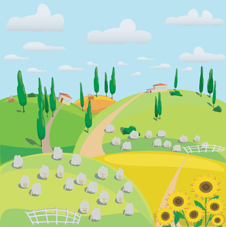 landscape of meadows, sheep and harvesting crops.