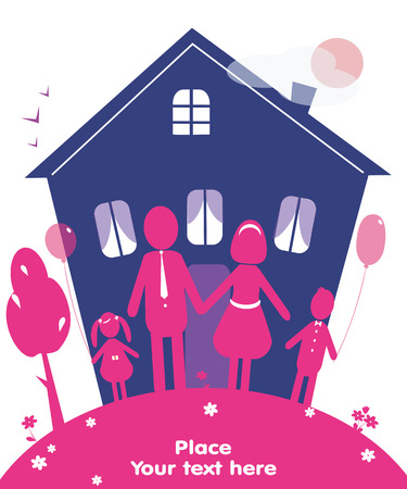 family moving house: Happy family with  house  of dream. Vector Illustration. can be used as card or symbolx