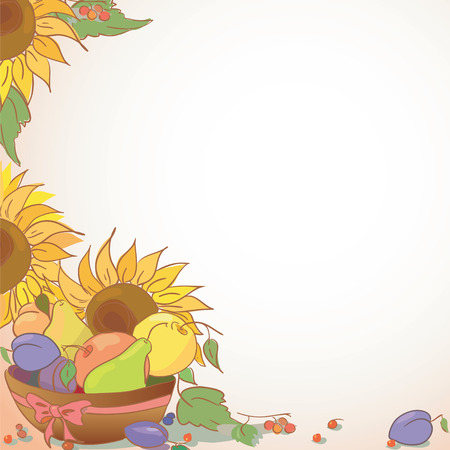 menu land: Background with fruit and flower. Illustration of apple plum pear and sunflower. Vector   Illustration