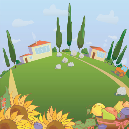 menu land: Village landscape with sunflowers and fruit. Farm sheep and harvest. Vector