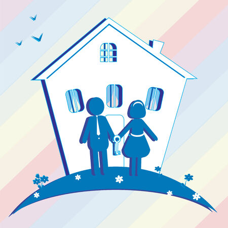 buy house: Illustration of buy house for family. Can be used as icon or card.