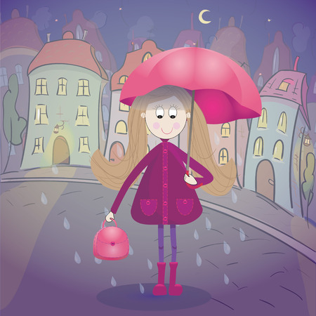 townscape: Girl under the rain with umbrella raincoat and rubber boots. Night townscape  on background. Vector illustration Illustration