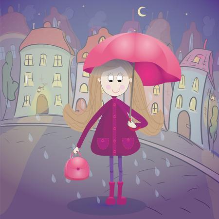 rubberboots: M�dchen unter der regen mit Regenschirm Regenmantel und Gummistiefel. Nacht Stadtbild im Hintergrund. Vektor-Illustration Illustration