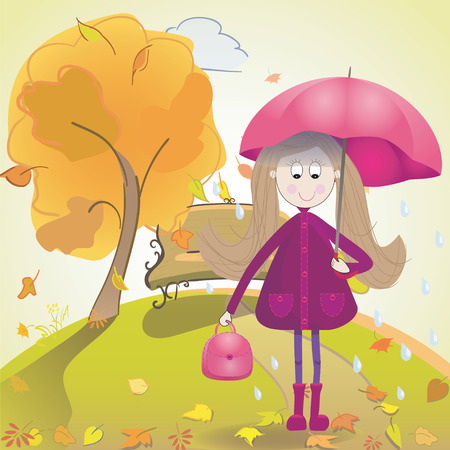 wellies: Girl with umbrella boots raincoat and rain on autumn landscape. Vector cartoon illustration