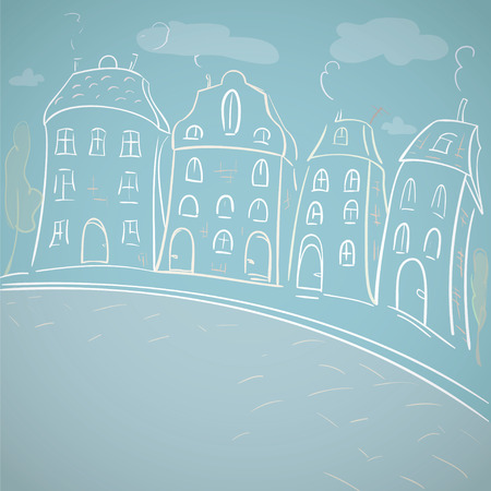 The street sketches in the old city. Vector illustration of town t sketches in the old city. Vector illustration of town  Vector
