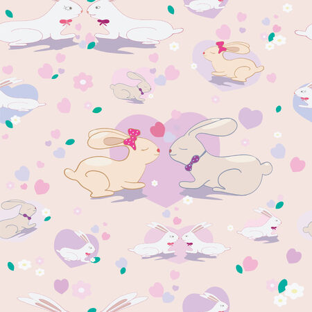 Seamless pattern with cute bunnies and hearts  on  background  Vector