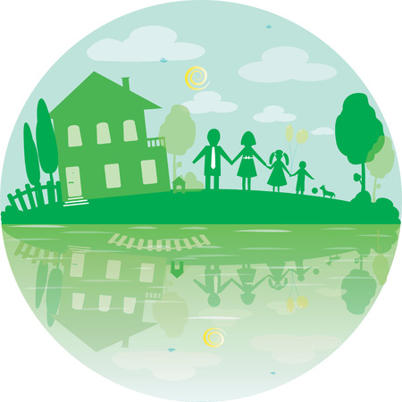 simbol: Illustration of happy family and house of dreams. Round icon in green color. Vector