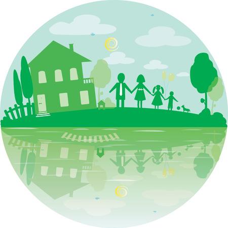simbol: Illustrazione della famiglia felice e la casa dei sogni. Icona rotondo nel colore verde. Vettore