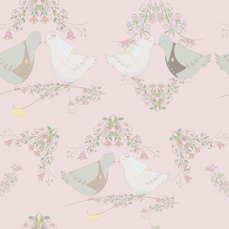 seamless texture for wedding. Groom bride and rings. Pair of doves. Vector Vector