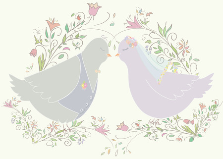 wedding illustration of pair pigeons. Can be used as template for card or invitation. Vector illustration Vector