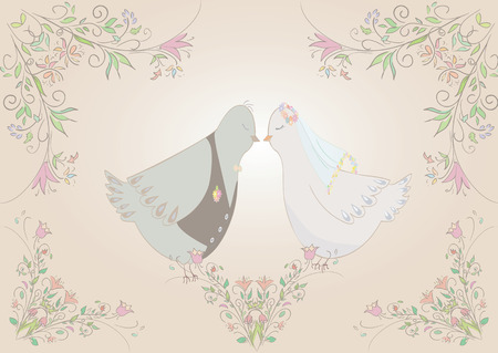 illustration of pair pigeons  . Can be used as template for card or invitation. Vector Vector