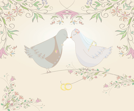 illustration of pair pigeons and wedding rings . Can be used as template for card or invitation. Vector Vector