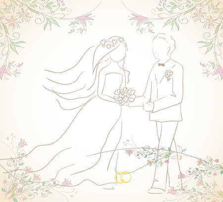 illustration of groom and bride with wedding  rings. Can be used as card or invitation. Vector Vector