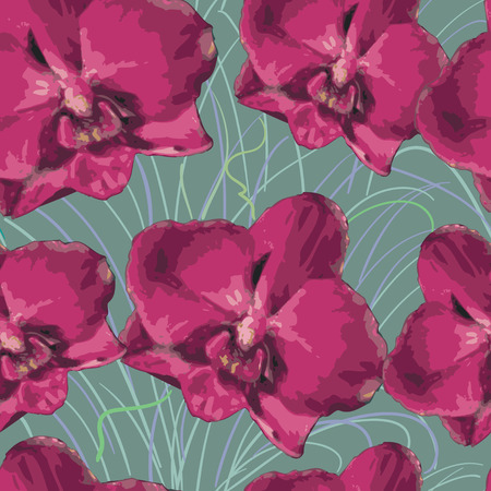 pink orchid: seamless pattern with pink orchid.