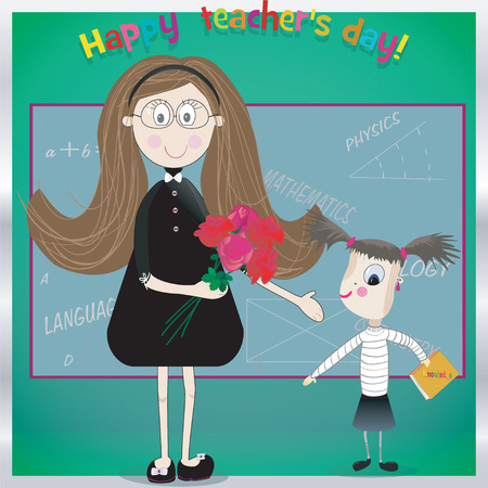 Happy teacher day.  Vector