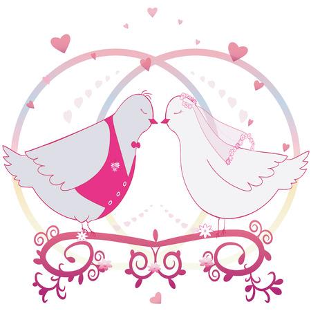 Wedding illustration Pair of doves.  Vector