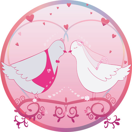 Round wedding illustration. Pair of doves. Bride and groom and hearts. Can be used as card or label. Vector Vector