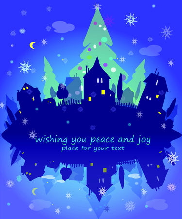 city lights: City lights,  Christmas City lights,  Christmas night. Holidays concept. Vector New Year illustration Illustration