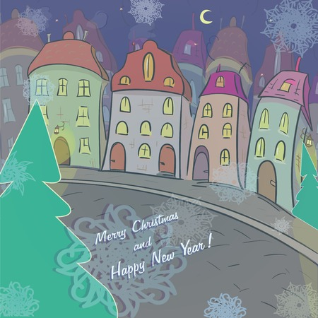 Christmas and New Year  card with the urban landscape and snowfall. Detailed vector picture Vector