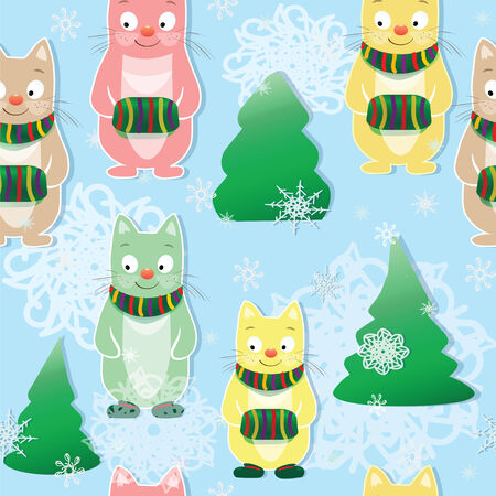 Christmas and New Year seamless pattern with fun cats and snowflakes. Vector background for winterristmas and New Year seamless pattern with fun cats and snowflakes. Cartoon background for winter Vector