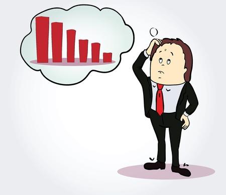 person thinking: Empresario y car�cter diagrama dibujos animados. Persona, pensando en la carta a la baja. Concept. Vector