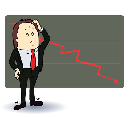 going down: Frightened man in a chart going down. Cartoon illustration. Vectorned man in a chart going down. Cartoon illustration. Vector illustration Illustration
