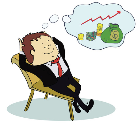 retire: Man dream about money. Concept cartoon illustration. Vector illustration