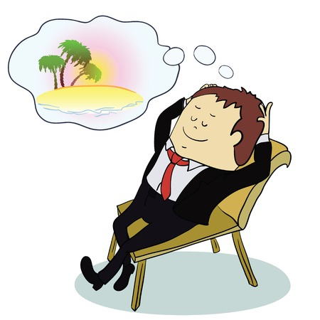 dreaming: Businessman dreaming about vacation ,vector illustratoin. concept Illustration