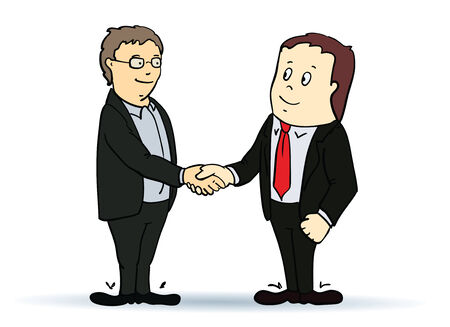 coalition: Illustration of businessman, shaking hands. Vector. Concept colorful image